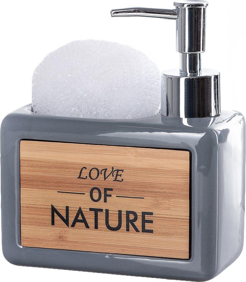 """Дозатор для жидкого мыла Доляна """"Природа"""", с подставкой для губки, 4004523, серый"""