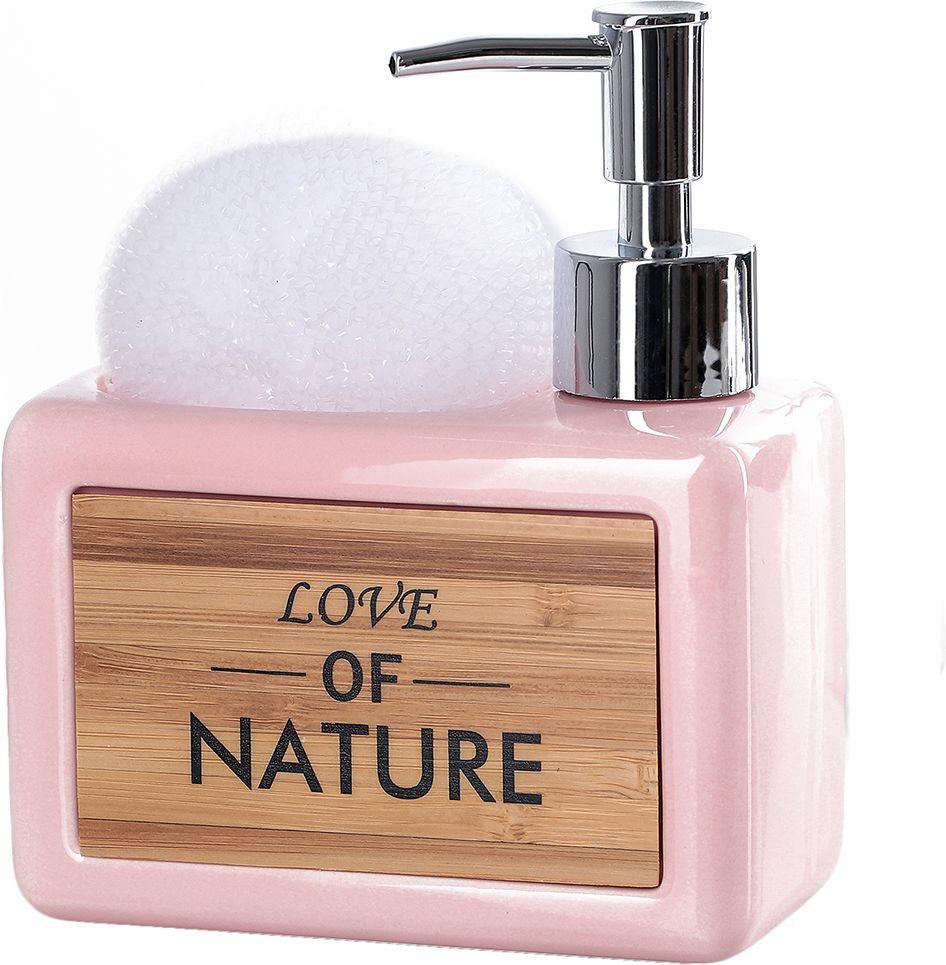 """Дозатор для жидкого мыла Доляна """"Природа"""", с подставкой для губки, 4004524, розовый"""