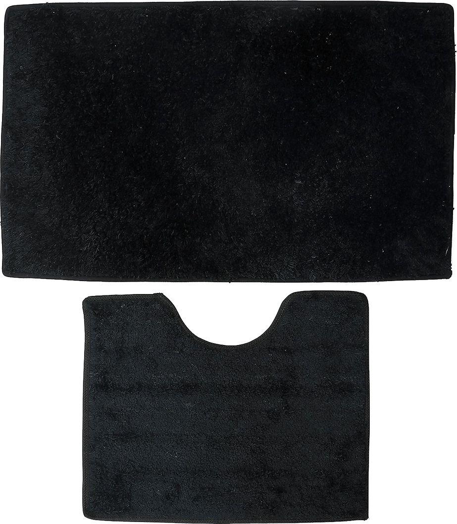 """Набор ковриков для ванной Доляна """"Лапша"""", 4066306, черный, 2 шт"""