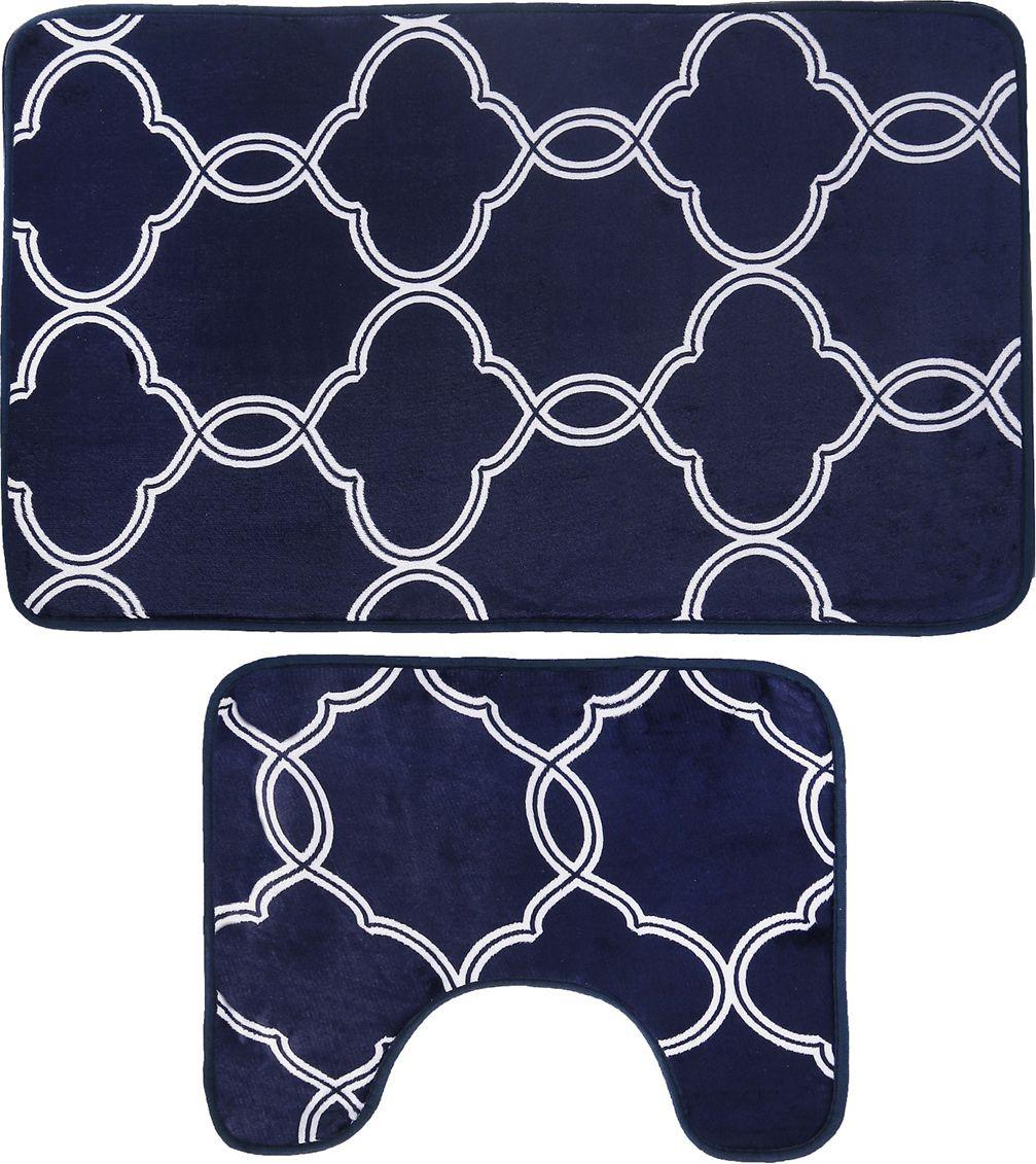 """Набор ковриков для ванной Доляна """"Виньер"""", 4066310, синий, 2 шт"""