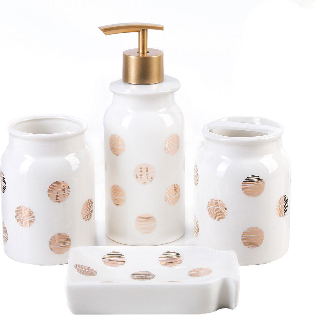 """Набор для ванной комнаты """"Золото"""", 4097404, белый, 4 предмета"""