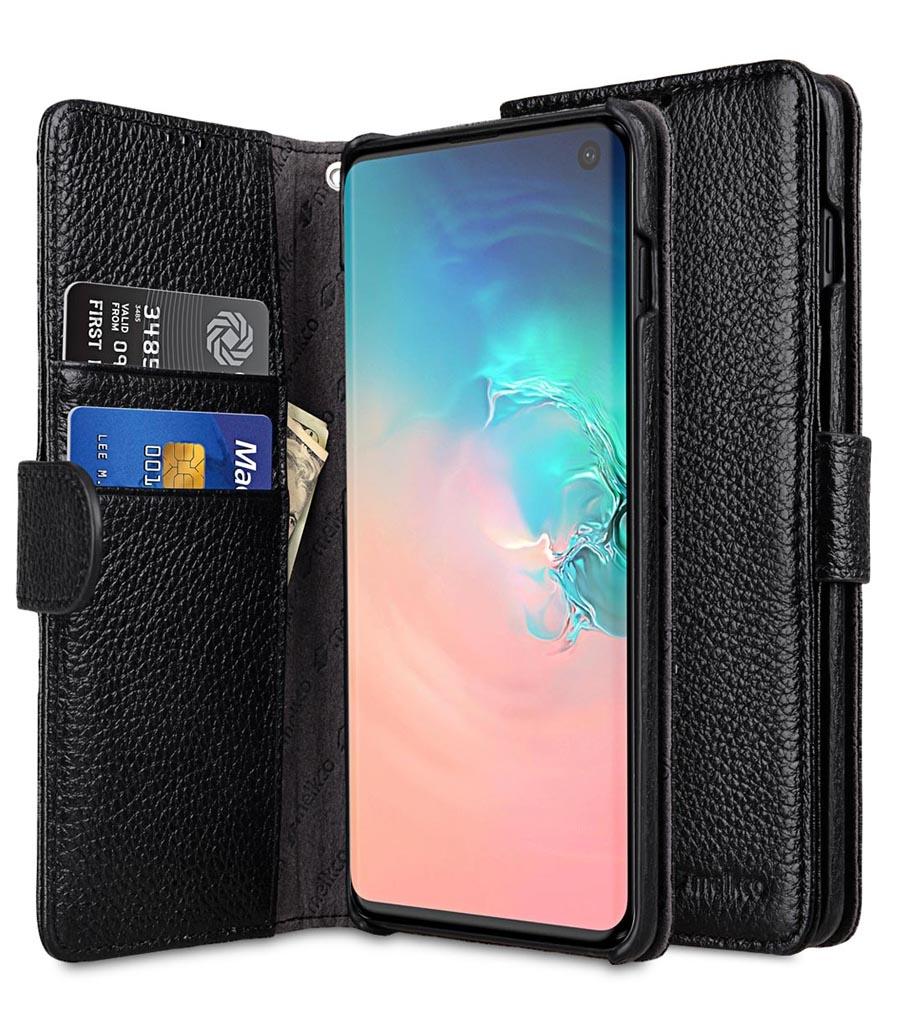Чехол для сотового телефона Melkco Кожаный чехол книжка для Samsung Galaxy S10 - Wallet Book Type, черный