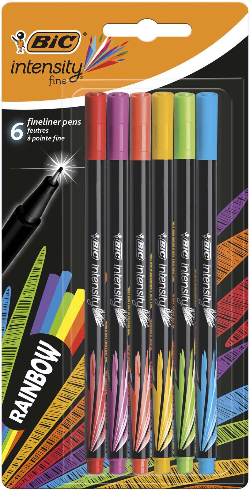 Набор капиллярных ручек Bic Intensity Rainbow, B950444, 6 цветов капиллярная ручка grip 0 4мм набор цветов в тубе 10 шт