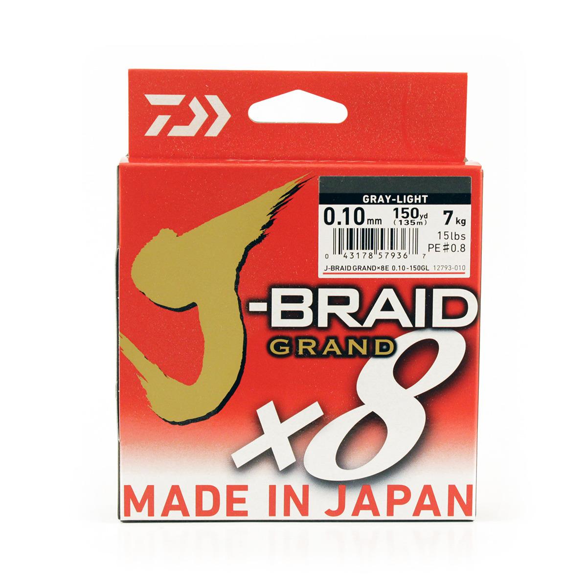 Плетеный шнур Daiwa J-Braid Grand X8, 69575, светло-серый, 150 м, 0,1 мм j
