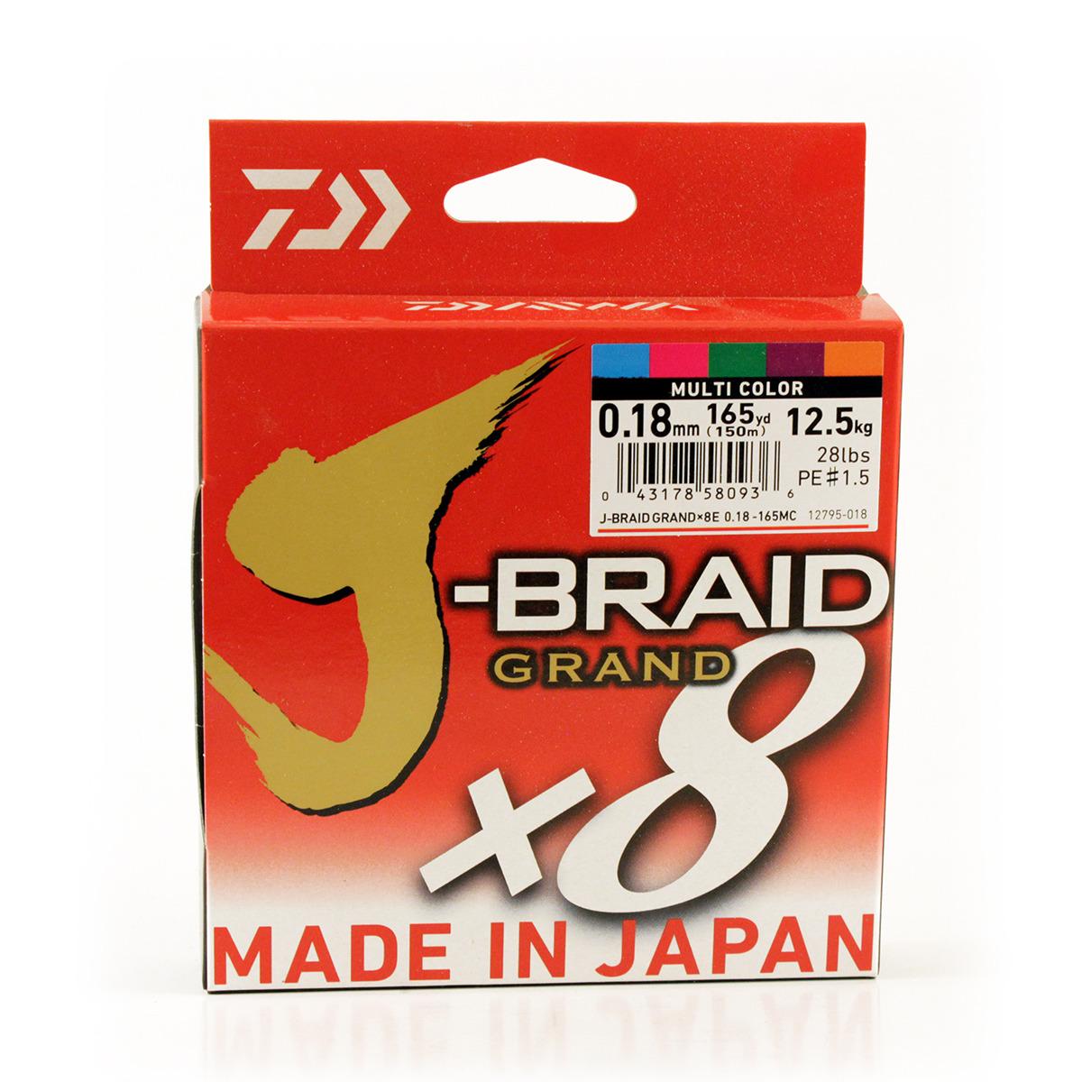 Фото - Плетеный шнур Daiwa J-Braid Grand X8, 69587, мультиколор, 150 м, 0,18 мм шнур плетеный daiwa j braid x8 цвет мультиколор 150 м 0 16 мм