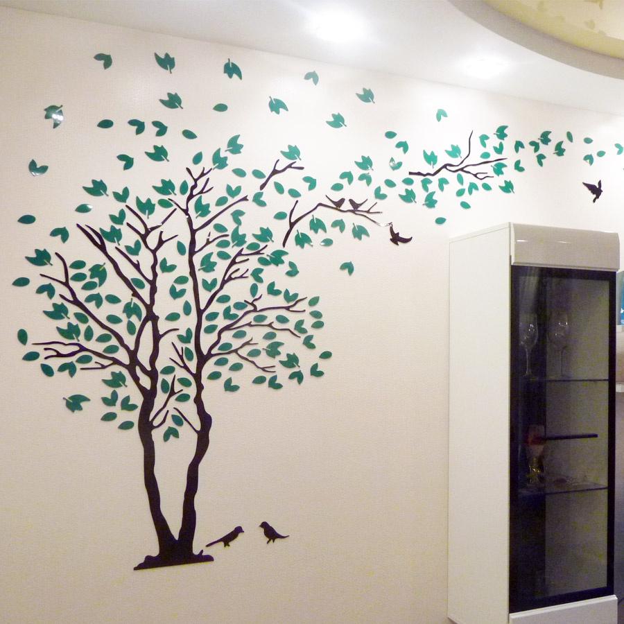 Украшение настенное интерьерное Простые решения Акриловая 3D наклейка Дерево 1,5 м х 3 м, Акрил наклейка на стену space art