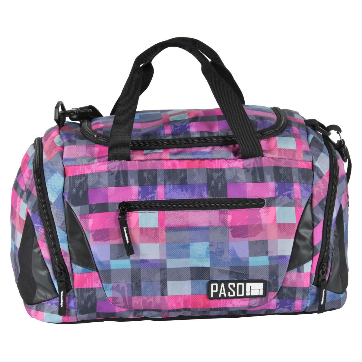 Сумка спортивная PASO Square pink, розовый, черный, разноцветный