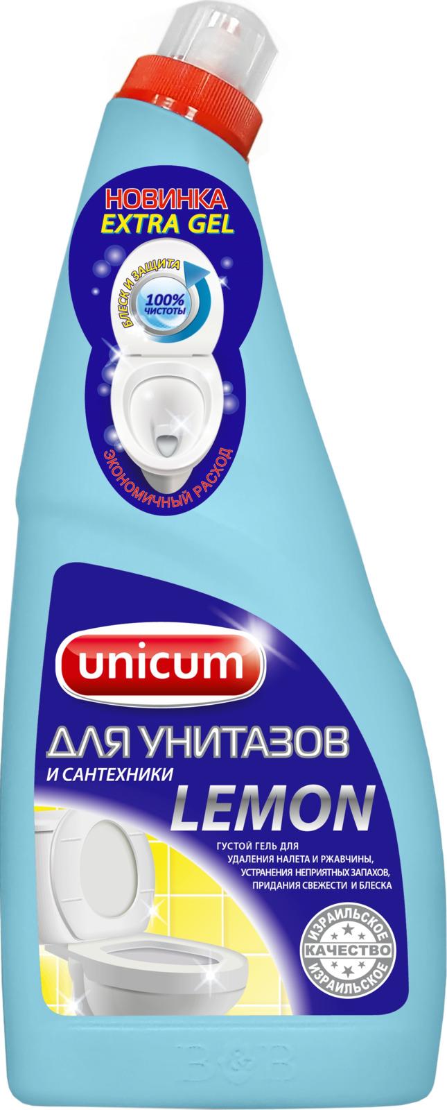 Гель для чистки унитазов Unicum Лимон, 750 мл гель unicum для чистки унитазов лимон 750 мл
