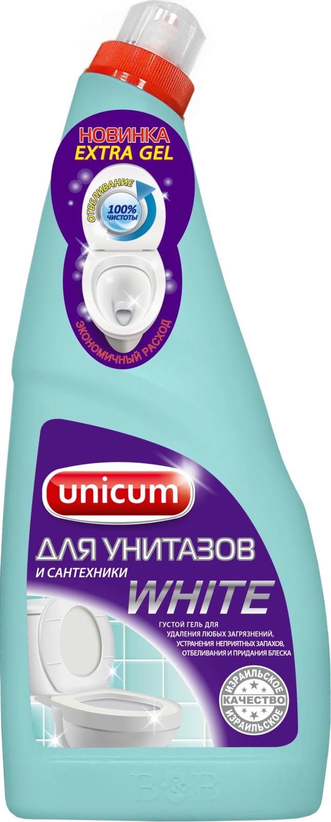 Гель для чистки унитазов Unicum, с гипохлоритом, 750 мл средство elit home гель д унитазов лимон 750 мл 12 шт 671454