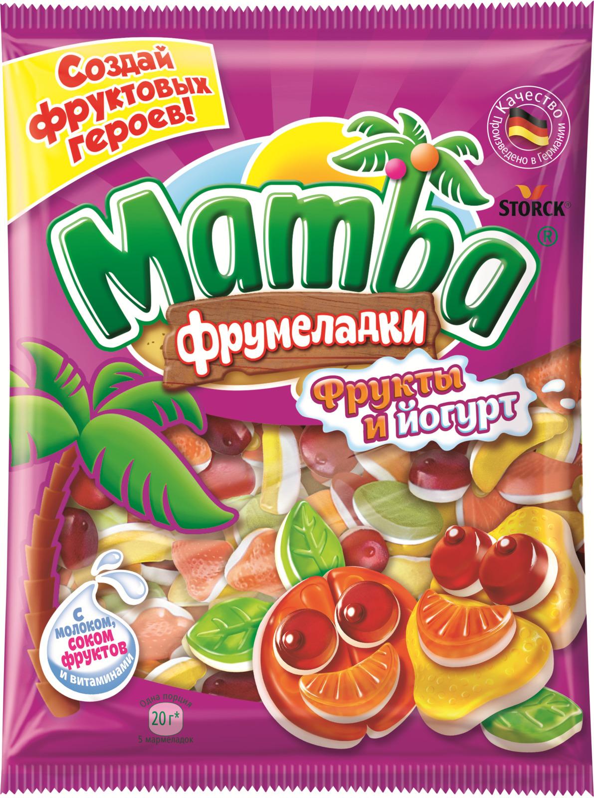 Мармелад жевательный Mamba Фрукты йогурт, 140 г жевательный мармелад mamba фруктовый микс 24 шт х 72 г