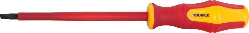 Отвертка стержневая диэлектрическая шлицевая Thorvik, SDLI410, VDE 1000V, SL4 х 100 мм отвертка стержневая шлицевая thorvik sdl5075 sl5 х 75 мм