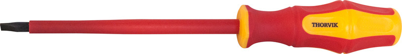 Отвертка стержневая диэлектрическая шлицевая Thorvik, SDLI512, VDE 1000V, SL5.5 х 125 мм отвертка thorvik sdlg575