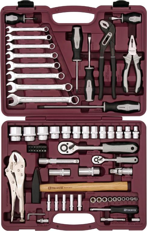 Набор инструмента универсальный Thorvik, UTS0072, 1/4, 1/2DR, 72 предмета универсальный набор инструмента jonnesway 1 2 и 1 4 dr 127 предметов