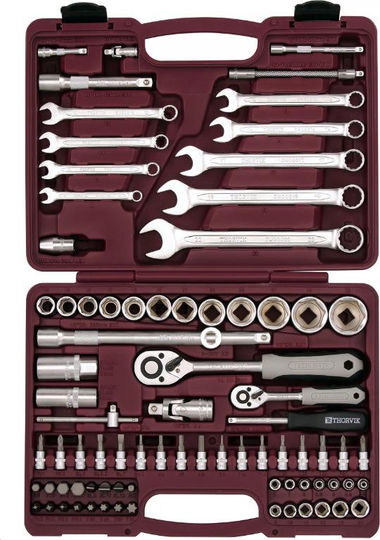 Набор инструмента универсальный Thorvik, UTS0082, 1/4, 1/2DR, 82 предмета универсальный набор инструмента jonnesway 1 2 и 1 4 dr 127 предметов