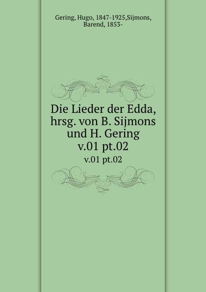Hugo Gering, B. Sijmons Die Lieder der Edda. Band 1 цена и фото