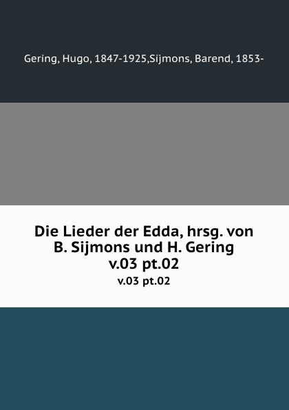 Hugo Gering, B. Sijmons Die Lieder der Edda цена и фото
