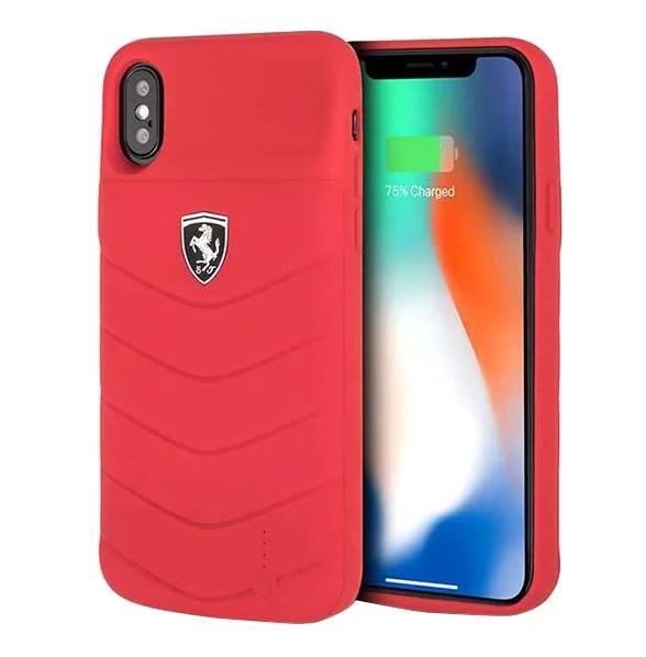 Чехол аккумулятор CG-Mobile для iPhone X/XS Ferrari Powercase Hard, 3600 mAh FEOQUPCFCPXRE, красный