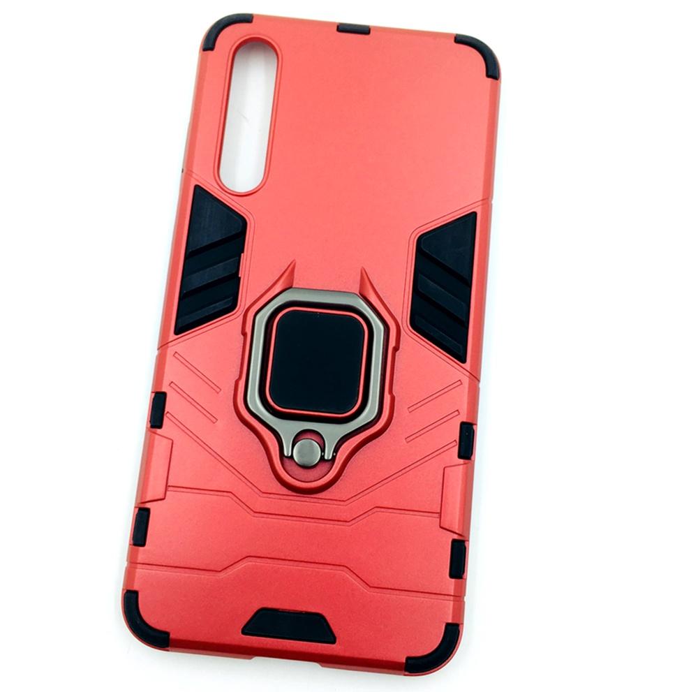 Чехол для сотового телефона Мобильная мода Huawei P20 Pro Накладка противоударная с подставкой-кольцом трансформер, красный стоимость