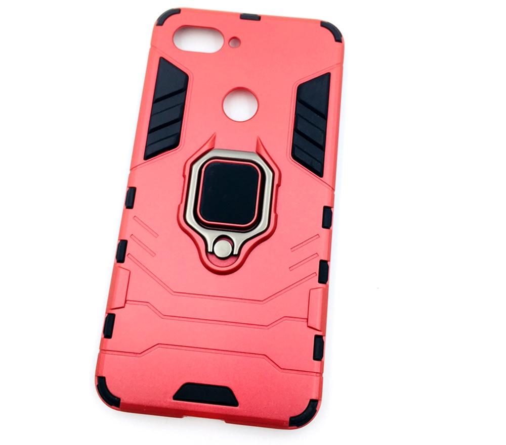 Чехол для сотового телефона Мобильная мода Xiaomi Mi 8 Lite Накладка противоударная с подставкой-кольцом трансформер, красный стоимость