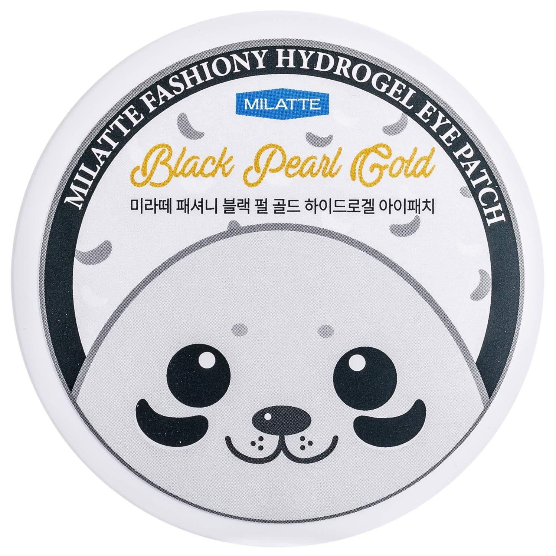 Патчи для кожи вокруг глаз с черным жемчугом и золотом Milatte Fashiony Black Pearl Gold Hydrogel Eye Patch, 90 маска для глаз milatte fashiony black eye mask raccoon объем 10 г