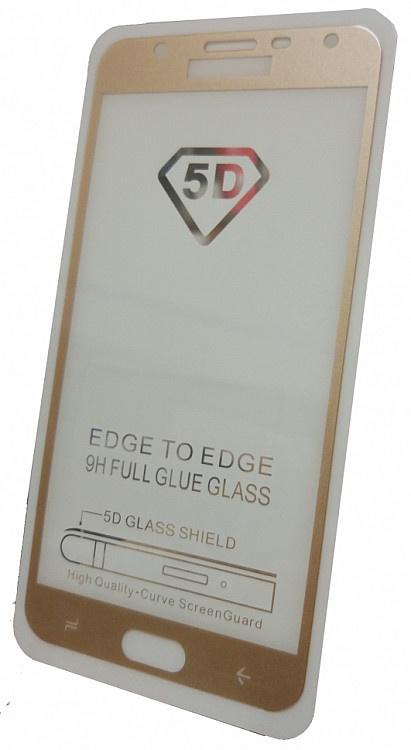 Защитное стекло для Samsung Galaxy J7 DUO (2018 г. полная проклейка золотая рамка), золотой все цены