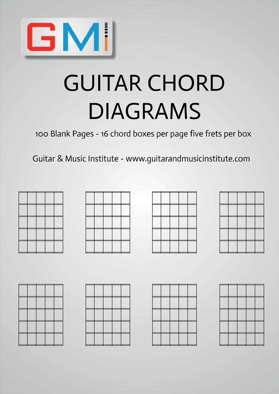 Ged Brockie Guitar Chord Diagrams. 100 Pages - 16 chord boxes per page five frets per box kitfort kt 602 1
