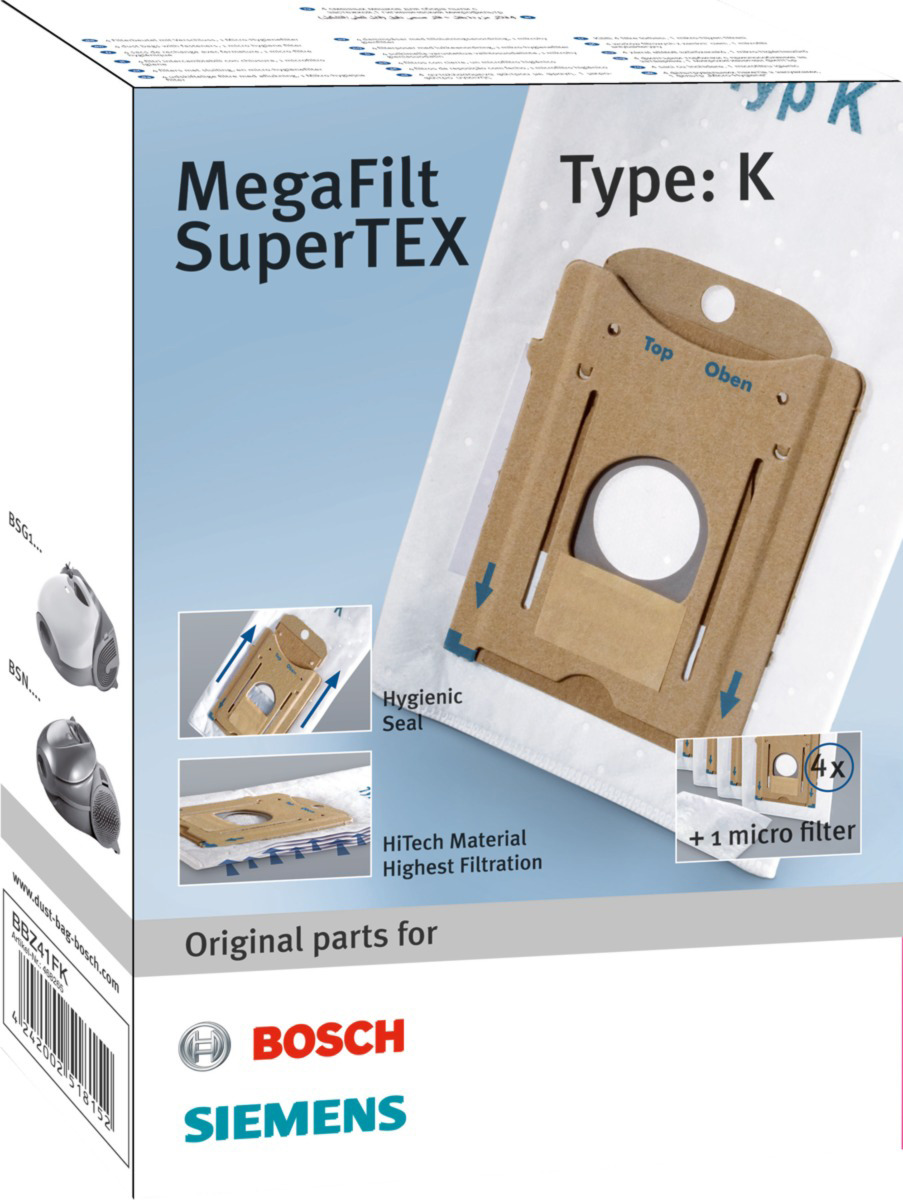 Мешки-пылесборники BBZ41FK для пылесосов Bosch серии BSN/BSG1, тип K с 1 сменным микрофильтром пылесос bosch bsn 1701