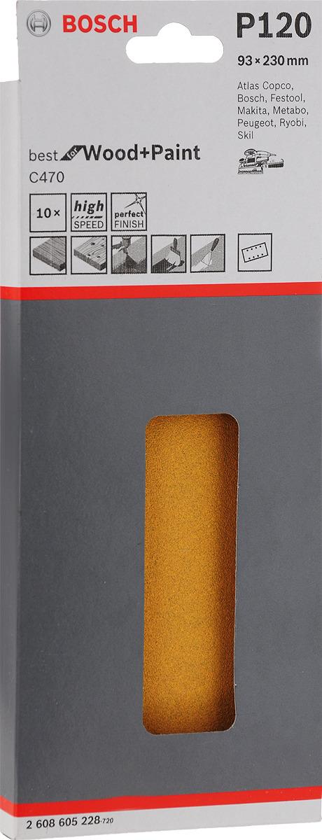 Набор шлифовальных листов Bosch по дереву, 93 х 230 мм, зерно 120, 10 шт набор шлифовальных листов bosch 2609256a35