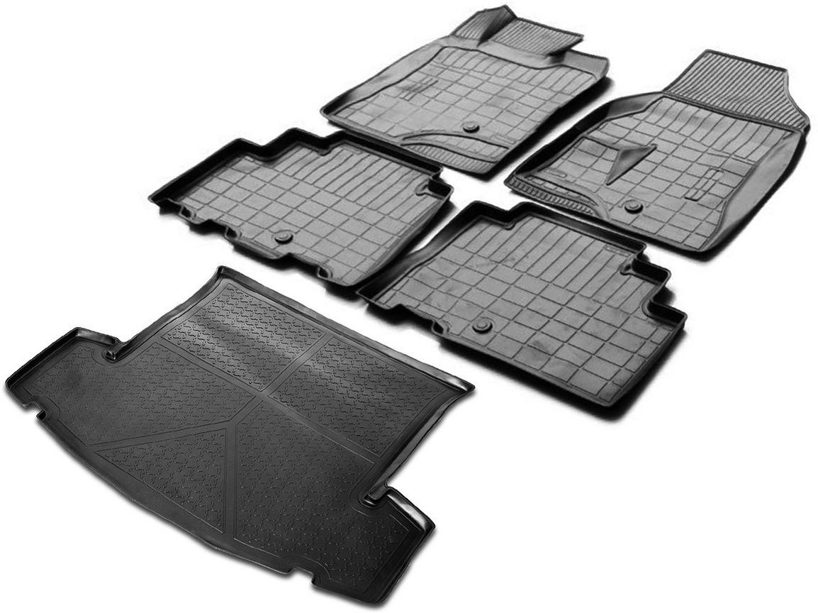 цена на Комплект ковриков салона и багажника Rival для Chevrolet Captiva I рестайлинг 5-дв. (5 мест) 2011-2016, полиуретан, с крепежом, 5 шт. K11007003-1