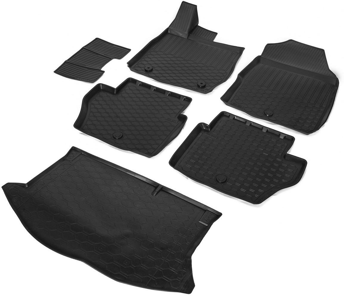 Комплект ковриков салона и багажника Rival для Ford Fiesta VI хэтчбек 2015-н.в., полиуретан, с крепежом, с перемычкой, 6 шт. K11805002-1 коврики салона rival для toyota rav4 2013 2015 2015 н в резина 65706001