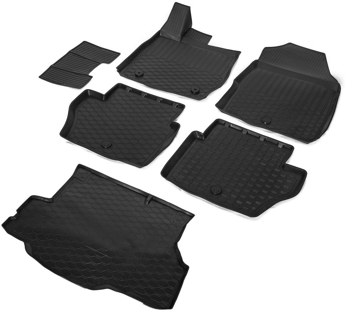Комплект ковриков салона и багажника Rival для Ford Fiesta VI седан 2015-н.в., полиуретан, с крепежом, с перемычкой, 6 шт. K11805003-1 коврики салона rival для toyota rav4 2013 2015 2015 н в резина 65706001
