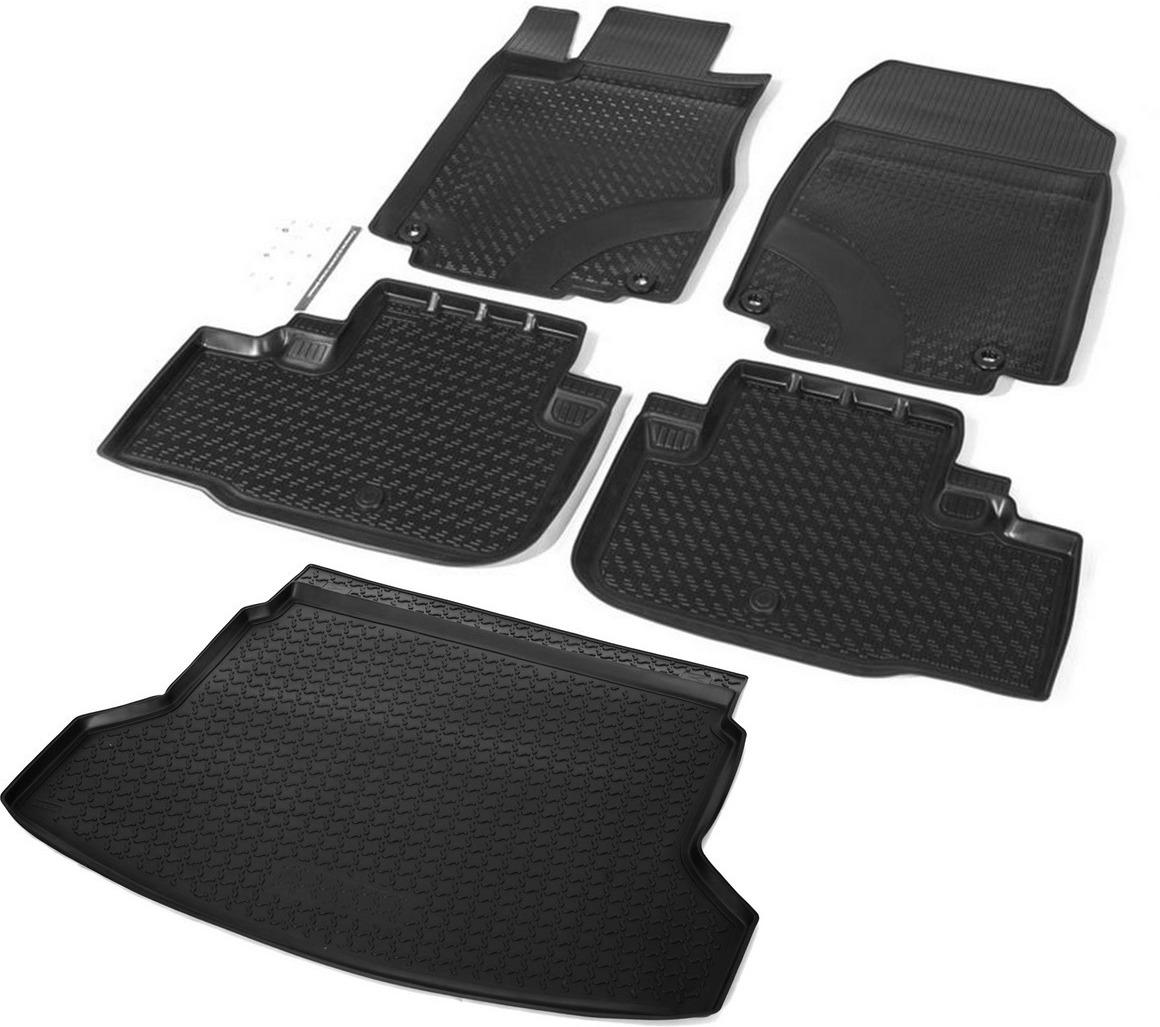 Комплект ковриков салона и багажника Rival для Honda CR-V IV 5-дв. 2012-2015, полиуретан, с крепежом, 5 шт. K12101002-1