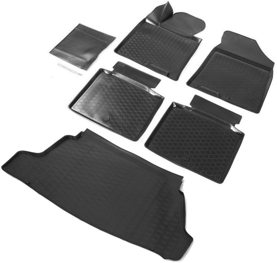 Комплект ковриков салона и багажника Rival для Hyundai i40 седан 2011-2017, полиуретан, без крепежа, с перемычкой, 6 шт. K12303002-1