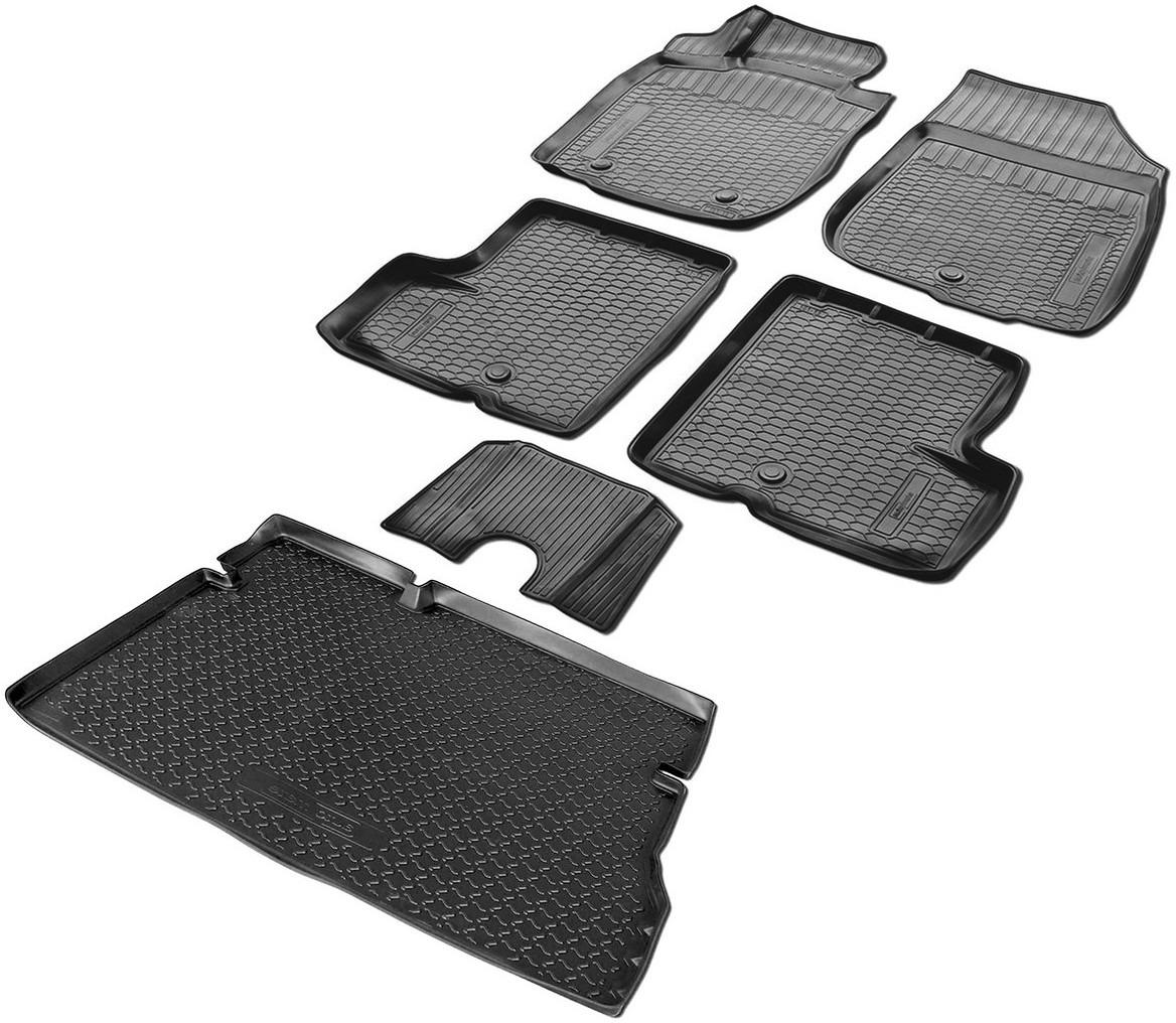 Комплект ковриков салона и багажника Rival для Nissan Terrano III 5-дв. (2WD) 2014-2016, полиуретан, с крепежом, с перемычкой, 6 шт. K14108003-2 коврики салона rival для renault sandero хэтчбек 5 дв 2014 н в полиуретан с крепежом с перемычкой 5 шт 14703003