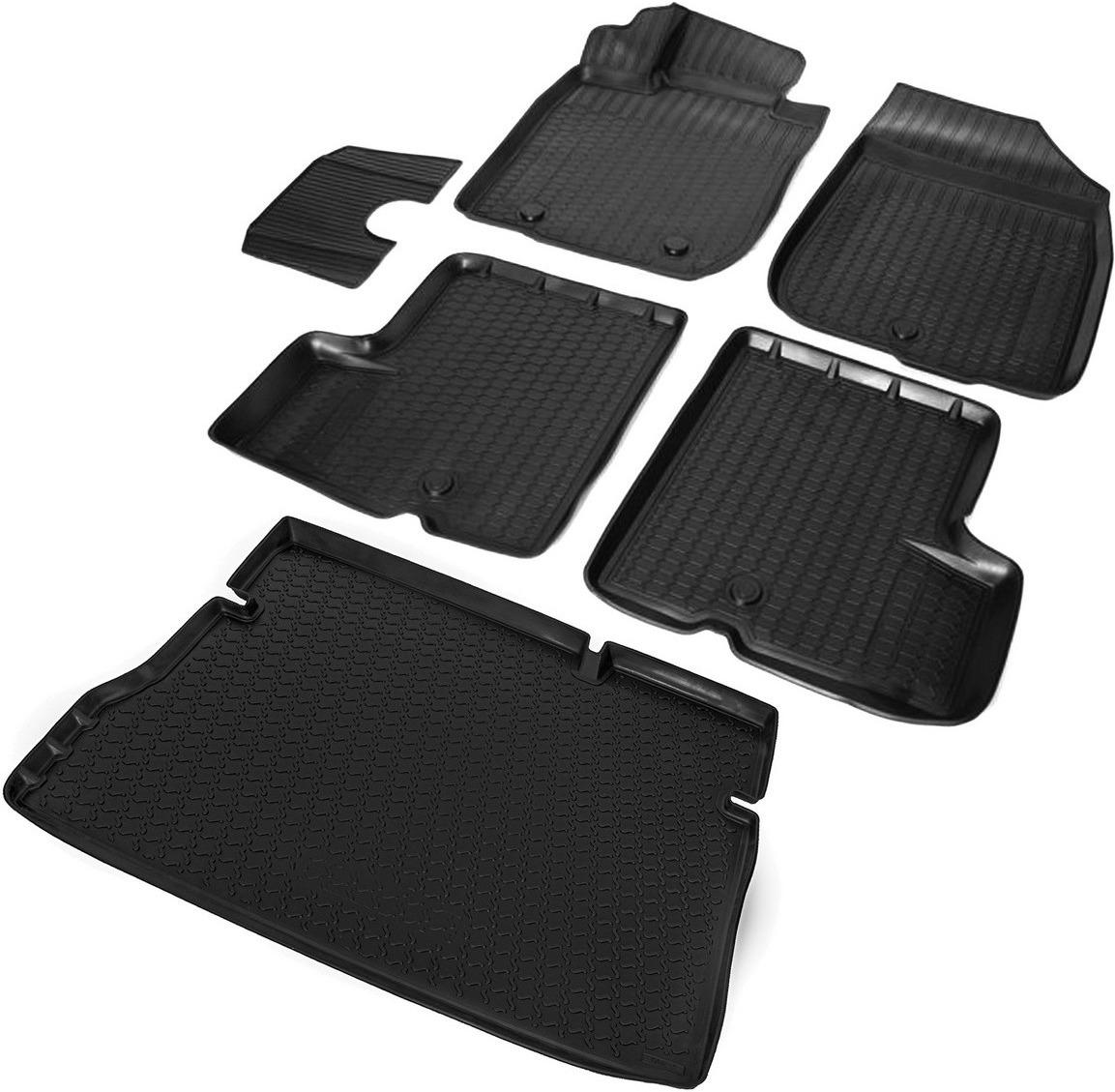 Комплект ковриков салона и багажника Rival для Renault Duster 5-дв. (2WD) 2010-2015, полиуретан, с крепежом, с перемычкой, 6 шт. K14701002-1 коврики салона rival для renault sandero хэтчбек 5 дв 2014 н в полиуретан с крепежом с перемычкой 5 шт 14703003