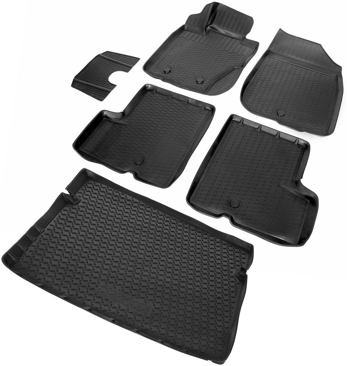 Комплект ковриков салона и багажника Rival для Renault Duster 5-дв. (4WD) 2010-2015, полиуретан, с крепежом, с перемычкой, 6 шт. K14701006-5 коврики салона rival для renault sandero хэтчбек 5 дв 2014 н в полиуретан с крепежом с перемычкой 5 шт 14703003