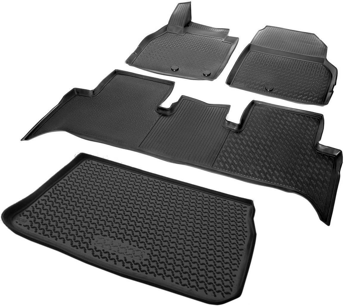 цена на Комплект ковриков салона и багажника Rival для Renault Scenic II рестайлинг компактвэн 2006-2010, полиуретан, с крепежом, 4 шт. K14708001-2