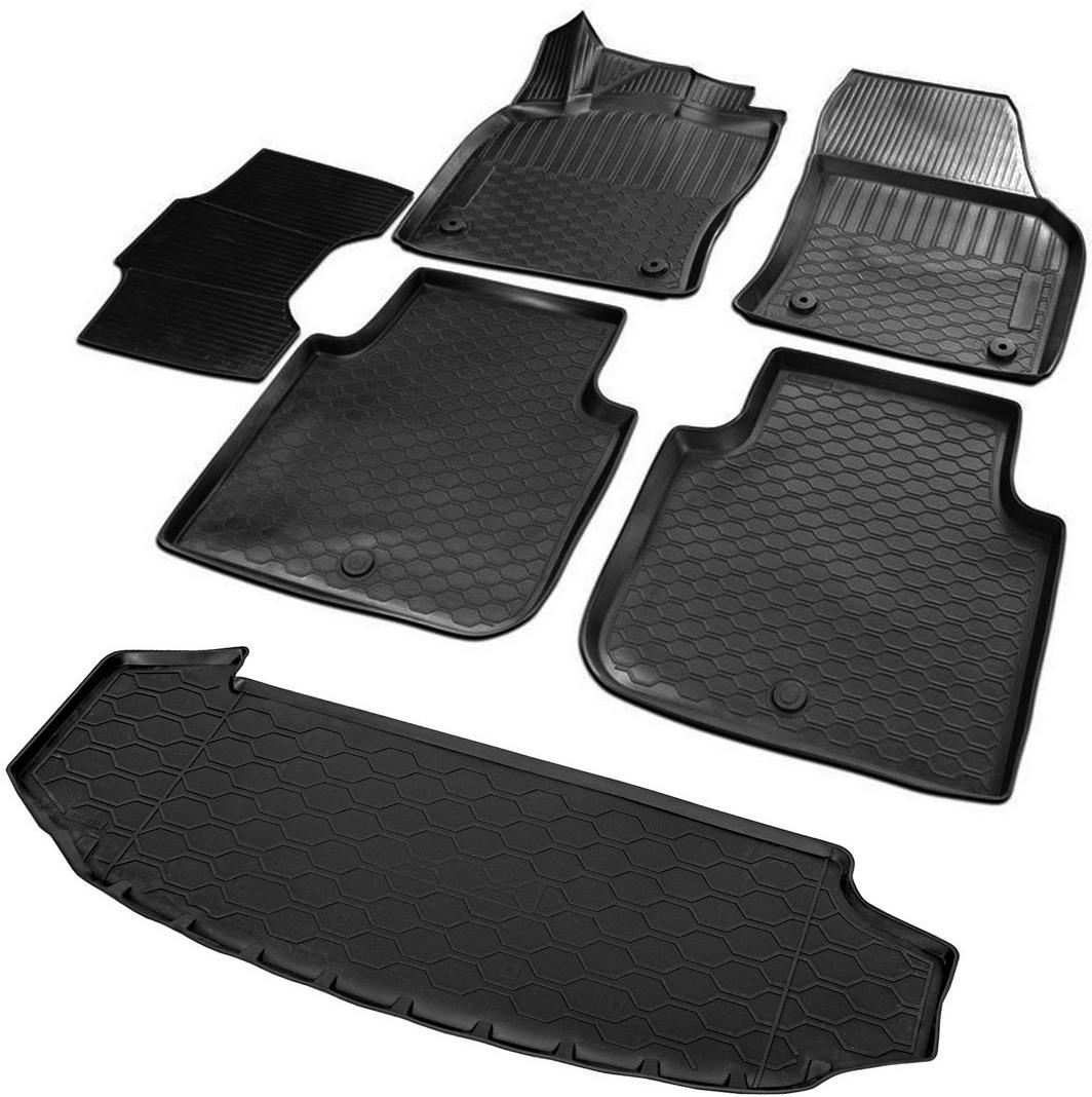 Комплект ковриков салона и багажника Rival для Skoda Kodiaq 5-дв. (7 мест) 2017-н.в., полиуретан, с крепежом, с перемычкой, 6 шт. K15105003-1 цены онлайн