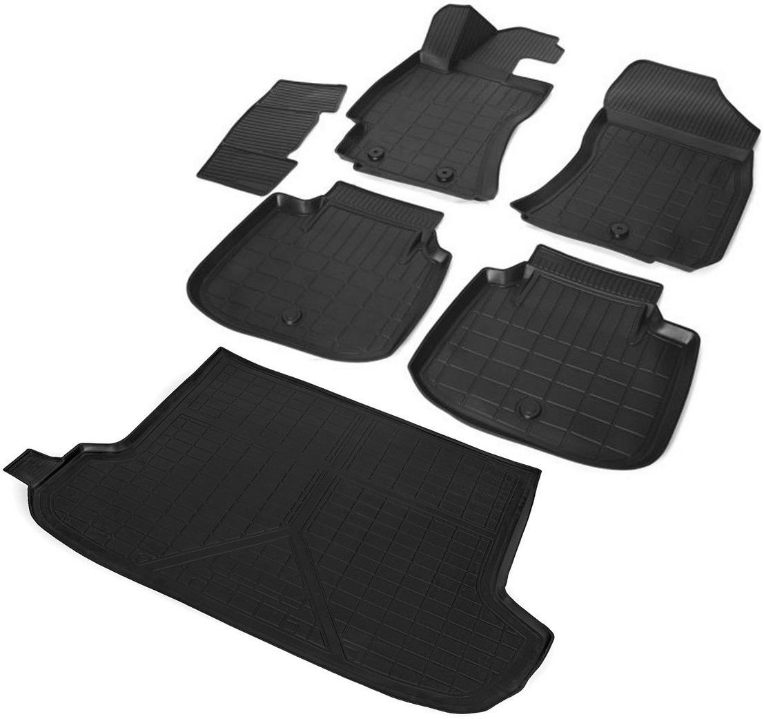 Комплект ковриков салона и багажника Rival для Subaru Outback V 5-дв. 2015-2018 2018-н.в., полиуретан, с крепежом, с перемычкой, 6 шт. K15403002-1