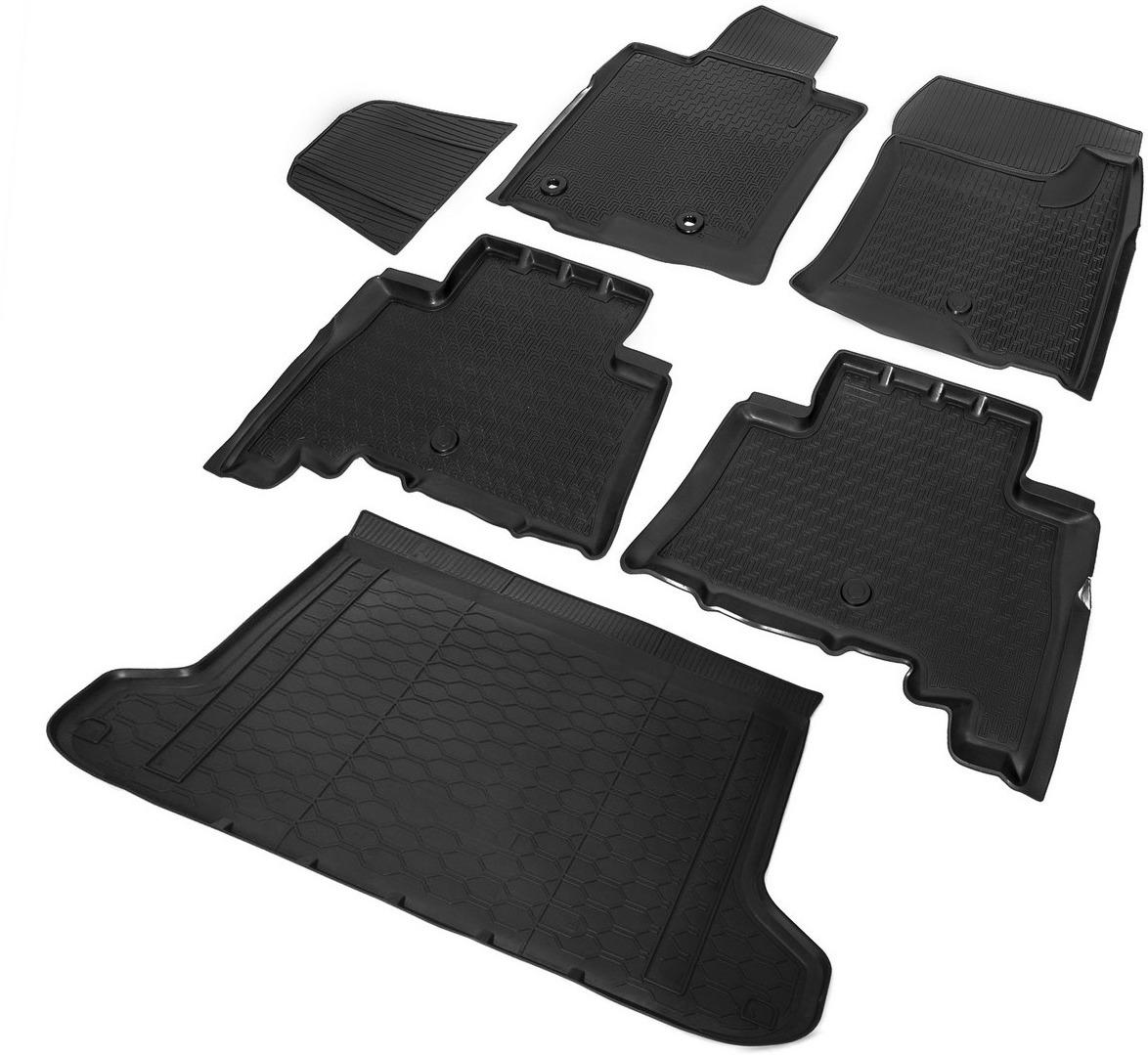Комплект ковриков салона и багажника Rival для Toyota Land Cruiser Prado 150 5-дв. (5 мест) 2009-2017, полиуретан, с крепежом, с перемычкой, 6 шт. K15704002-1 недорго, оригинальная цена