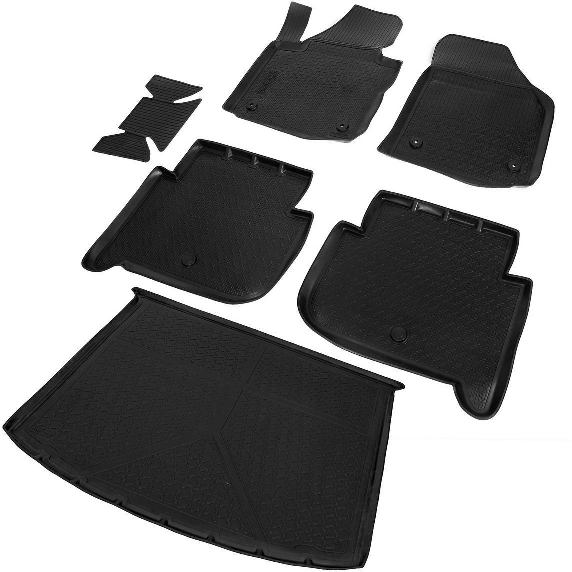 Комплект ковриков салона и багажника Rival для Volkswagen Touran II компактвэн 2010-2015, полиуретан, с крепежом, с перемычкой, 6 шт. K15806003-1 комплект ковриков салона и багажника rival для volkswagen jetta 2010 н в полиуретан k15802001 2