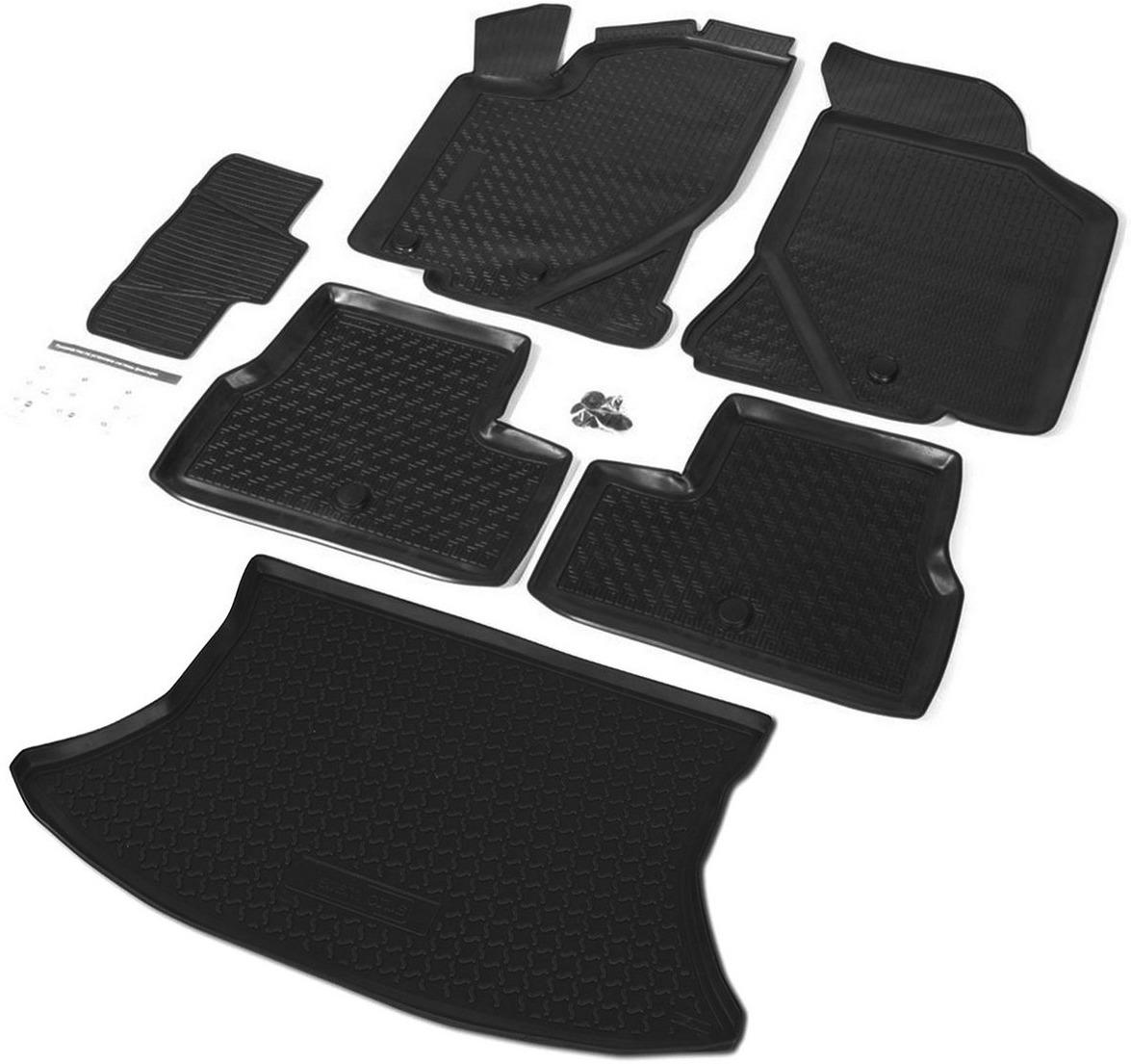 Комплект ковриков салона и багажника Rival для Lada Kalina I, II хэтчбек 2004-2018, полиуретан, с крепежом, с перемычкой, 6 шт. K16002001-2 комплект ковриков салона и багажника rival для lada vesta универсал сross с фальш полом 2017 н в полиуретан k16006001 3