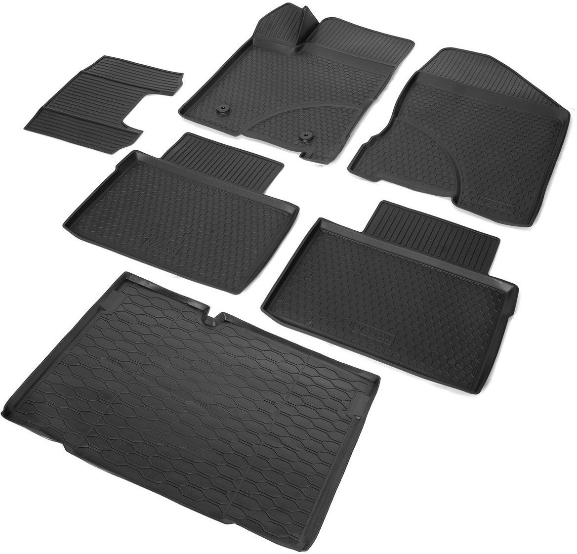 Комплект ковриков салона и багажника Rival для Lada Vesta универсал, универсал Cross (багажник без фальш пола) 2017-н.в., полиуретан, с крепежом, с перемычкой, 6 шт. K16006004-1 комплект ковриков салона и багажника rival для lada vesta универсал сross с фальш полом 2017 н в полиуретан k16006001 3