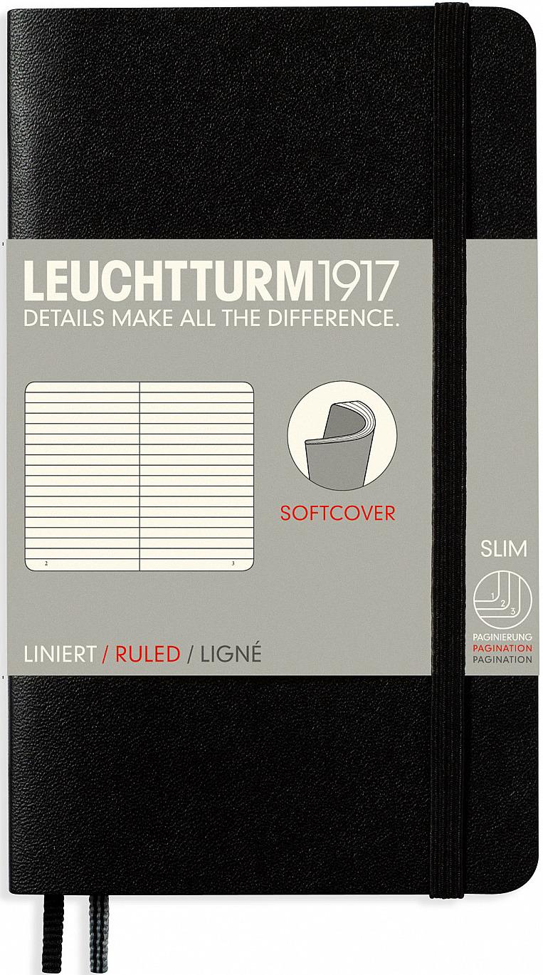 Записная книжка Leuchtturm1917, 306017, черный, A6 (105 x 148 мм), в линейку, 60 листов записная книжка leuchtturm1917 357475 голубой a6 105 x 148 мм в линейку 92 листа