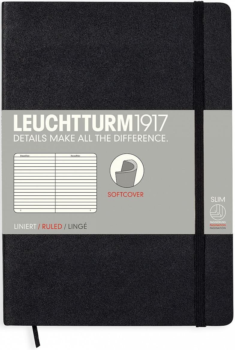Записная книжка Leuchtturm1917, 308290, черный, A5 (148 x 210 мм), в линейку, 61 лист