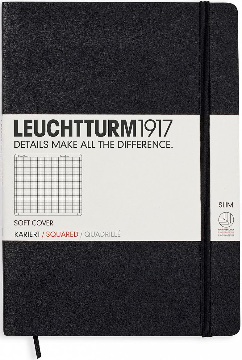 Записная книжка Leuchtturm1917, 310337, черный, A5 (148 x 210 мм), в клетку, 61 лист
