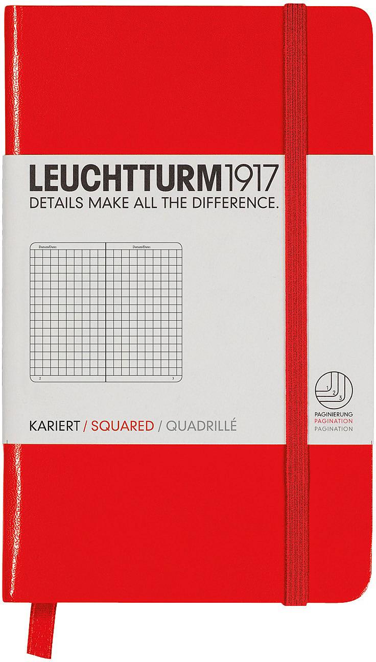 Записная книжка Leuchtturm1917, 332077, красный, A6 (105 x 148 мм), в линейку, 92 листа
