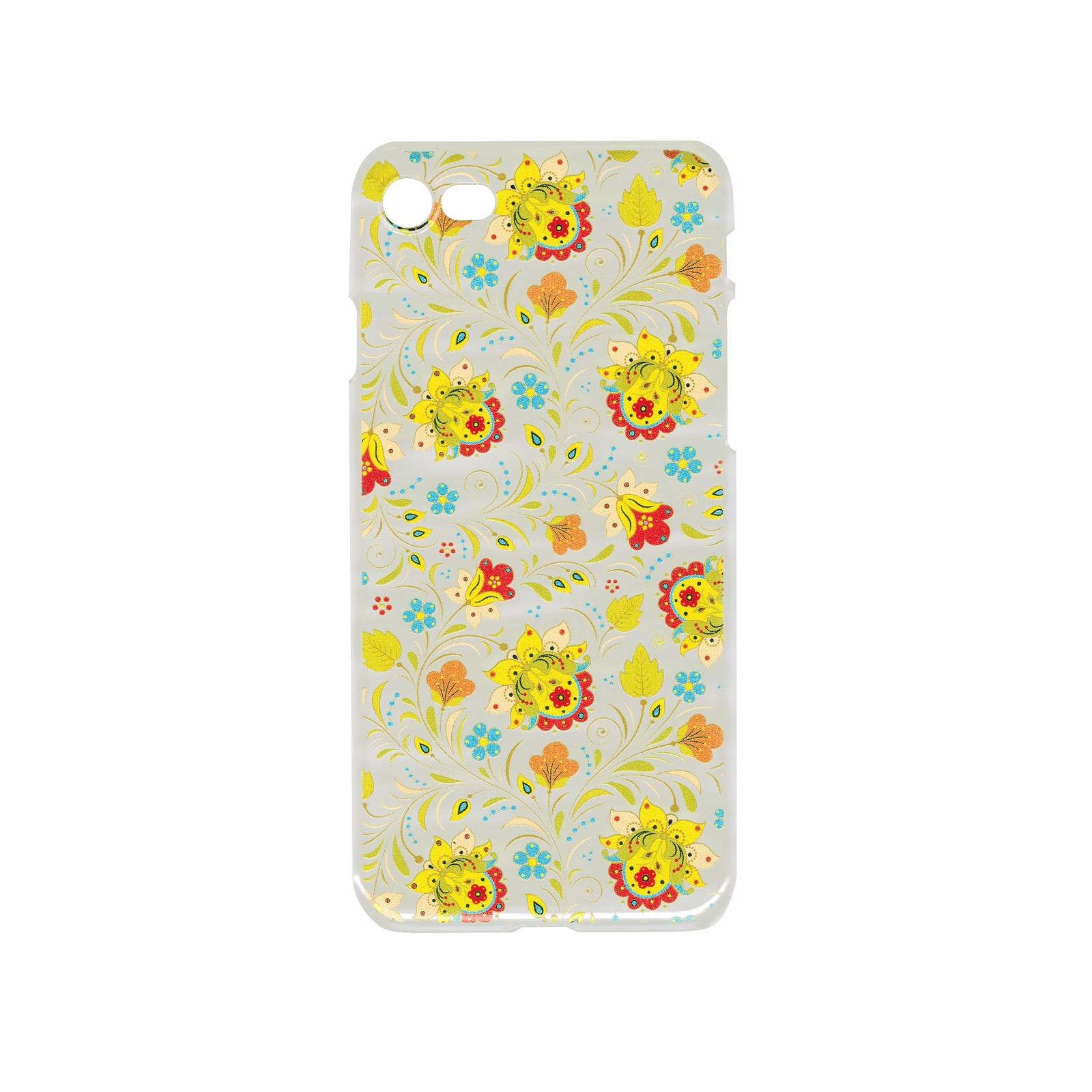 """Чехол для сотового телефона IQ Format пластиковый для iPhone 7 и 8, """"Цветочный орнамент"""", голубой, желтый, зеленый, красный"""