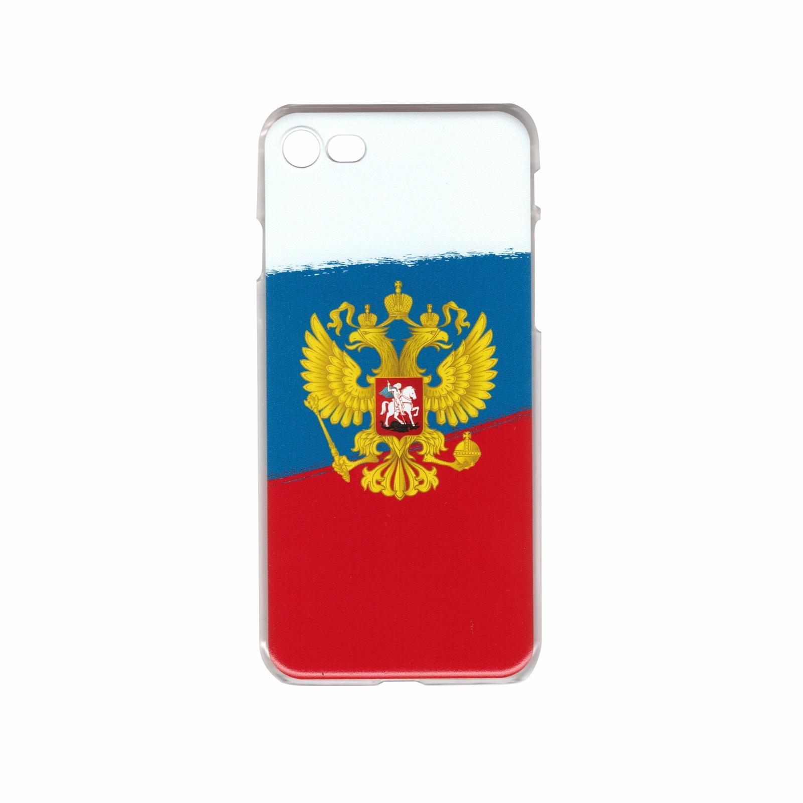 Чехол для сотового телефона IQ Format пластиковый для iPhone 7 и 8, Герб России, белый, красный, синий iq format чехол крышка iq format slim для apple iphone 7 plus 8 plus пластик голубой