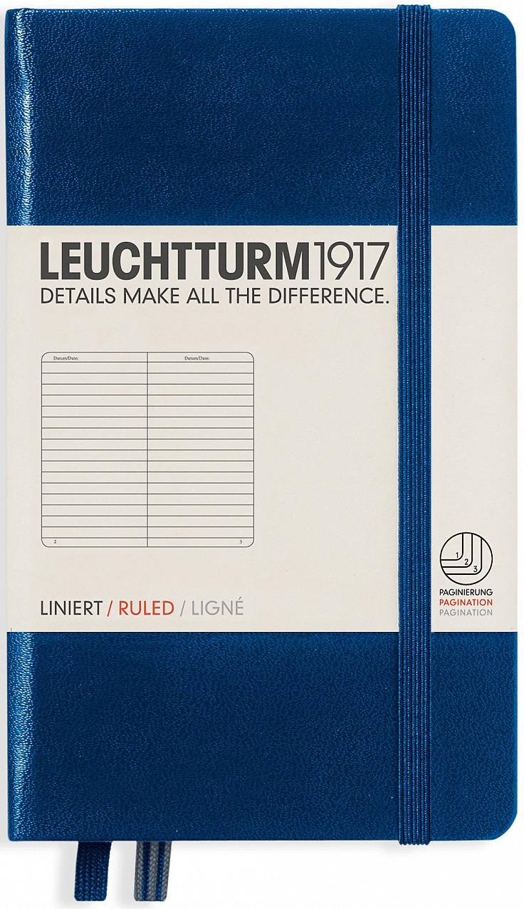 Записная книжка Leuchtturm1917, 342918, темно-синий, A6 (105 x 148 мм), в линейку, 92 листа
